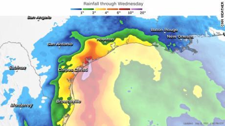 Forecast rainfall through Wednesday morning.