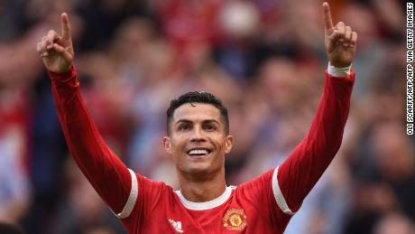 Ronaldo celebrates after scoring Manchester United's second goal.