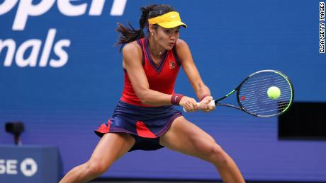 Emma Raducanu of Great Britain returns the ball against Leylah Fernandez of Canada during their Women's Singles final match at the USTA Billie Jean King National Tennis Center on September 11, 2021, in the Flushing neighborhood of the Queens borough of New York City.