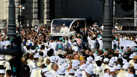Francis arrives in his popemobile to celebrate mass for the closing of the International Eucharistic Congress at Budapest's Heroes Square.