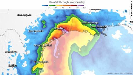 Forecast rainfall through Wednesday from Tropical Storm Nicholas.