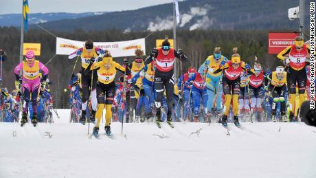 Competitors race during the 2021 Tjejvasan Vasaloppet for women in Mora, Sweden, on February 27.
