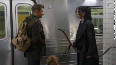 "Jermey Renner and Haliee Steinfeld  in ""Hawkeye."""