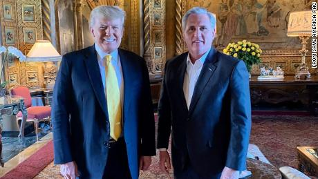 Former President Donald Trump and House Minority Leader Kevin McCarthy met in February at Trump's Mar-a-Lago estate in Palm Beach, Florida.