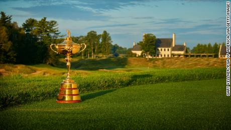A view of the Ryder Cup Trophy at Whistling Straits Golf Course.