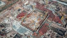 An aerial view of the Guangzhou Evergrande Football Stadium under construction in December 2020.