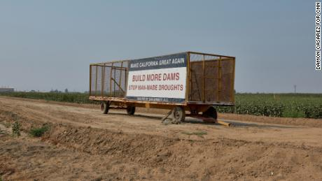 Signs about the drought are seen along highways in the Central Valley.