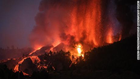 The Cumbre Vieja volcano erupts on La Palma on Sunday.