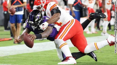 Jackson dives into the endzone past the tackle of Michael Danna of the Kansas City Chiefs.
