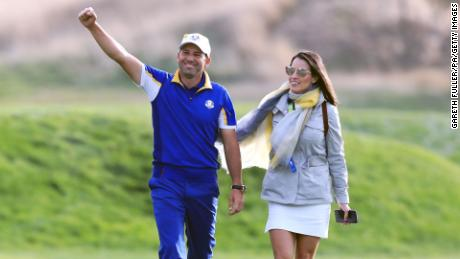 Team Europe's Garcia celebrates with wife Angela after the singles match on day three of the 2018 Ryder Cup.