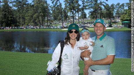 Sergio Garcia poses with Angela and daughter Azalea during the Par 3 Contest prior to the Masters in 2019.