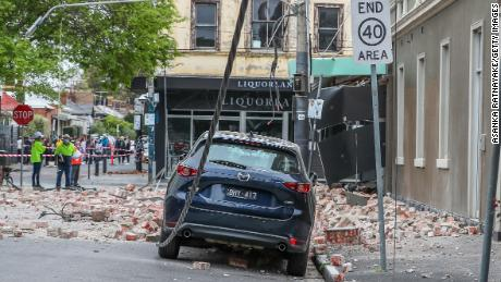 Damaged buildings along Chapel Street are seen following an earthquake on September 22 in Melbourne, Australia.