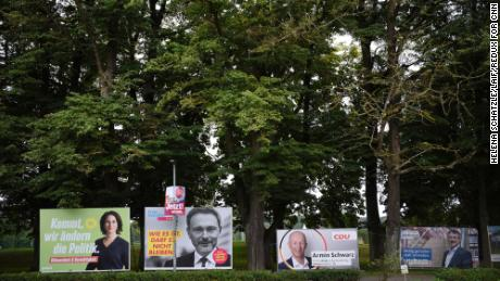 Election campaign posters are seen in Holzhausen.