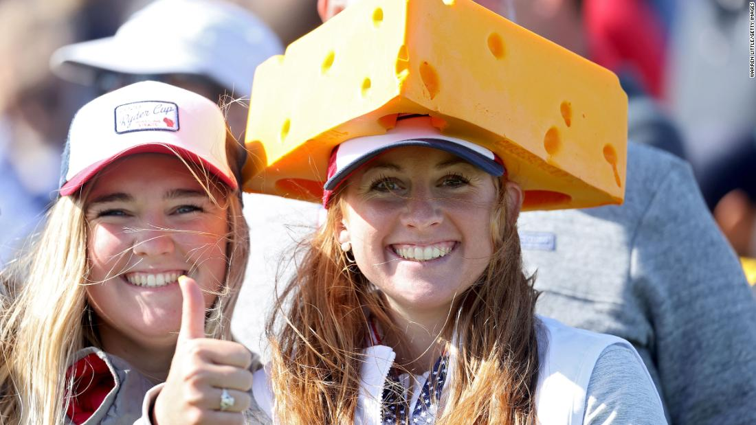 A fan wears a cheese head during a practice round prior to the 43rd Ryder Cup at Whistling Straits near Sheboygan, Wisconsin, in September 2021.