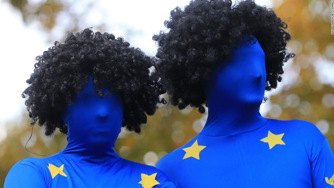 European team fans stand out during the 39th Ryder Cup at Medinah Country Club in Illinois on September 28, 2012.