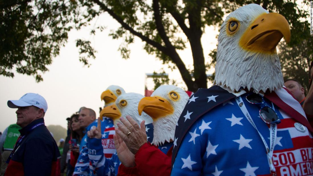 Fans watch during the 41st Ryder Cup at Hazeltine National Golf Club in Minnesota on September 30, 2016.