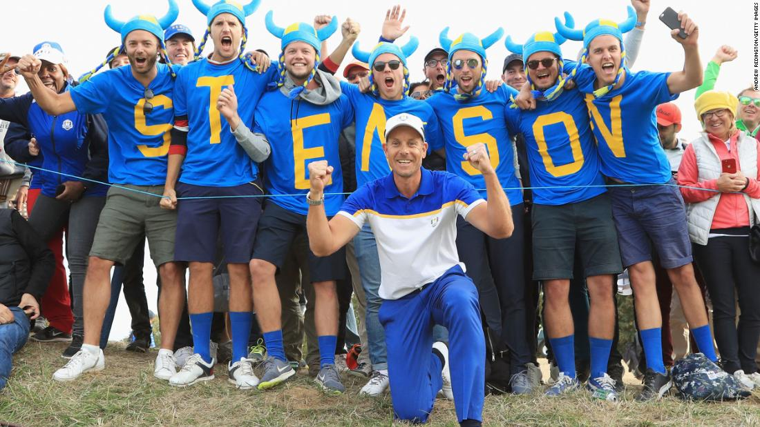 Fans of Henrik Stenson and Europe celebrate during the 2018 Ryder Cup at Le Golf National in a suburb of Paris.