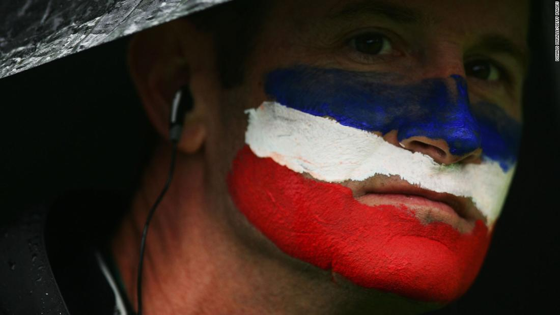 A US fan shows off his country's colors on the final day of the 2006 Ryder Cup in Ireland.