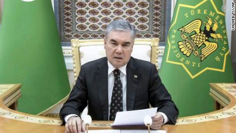 Turkmenistan's President Gurbanguly Berdymukhamedov remotely addresses the 76th session of the UN General Assembly in a pre-recorded message on September 21, 2021.