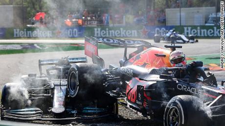 Verstappen and Hamilton collide at the Italian Grand Prix, Monza.