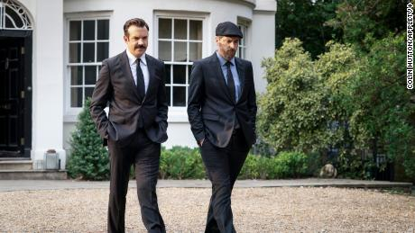 """Jason Sudeikis and Brendan Hunt in """"Ted Lasso"""" season two, episode 10 """"No Weddings and a Funeral."""""""