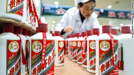 A worker at the Kweichow Moutai distillery in Maotai, located in Renhuai in southwest China's Guizhou Province.