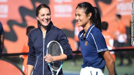 The Duchess of Cambridge plays a game of tennis with Raducanu.