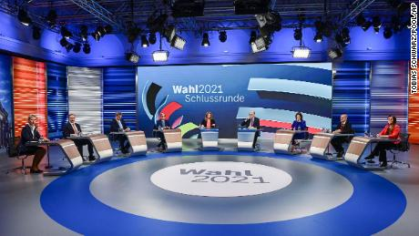 Candidates for the upcoming German election attend a final televised debate in Berlin on September 23.
