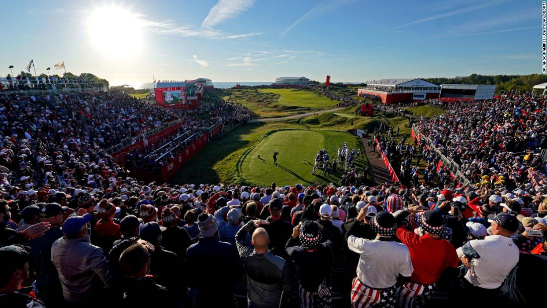 Team US player Daniel Berger plays his shot from the first tee during day one of the 43rd Ryder Cup.