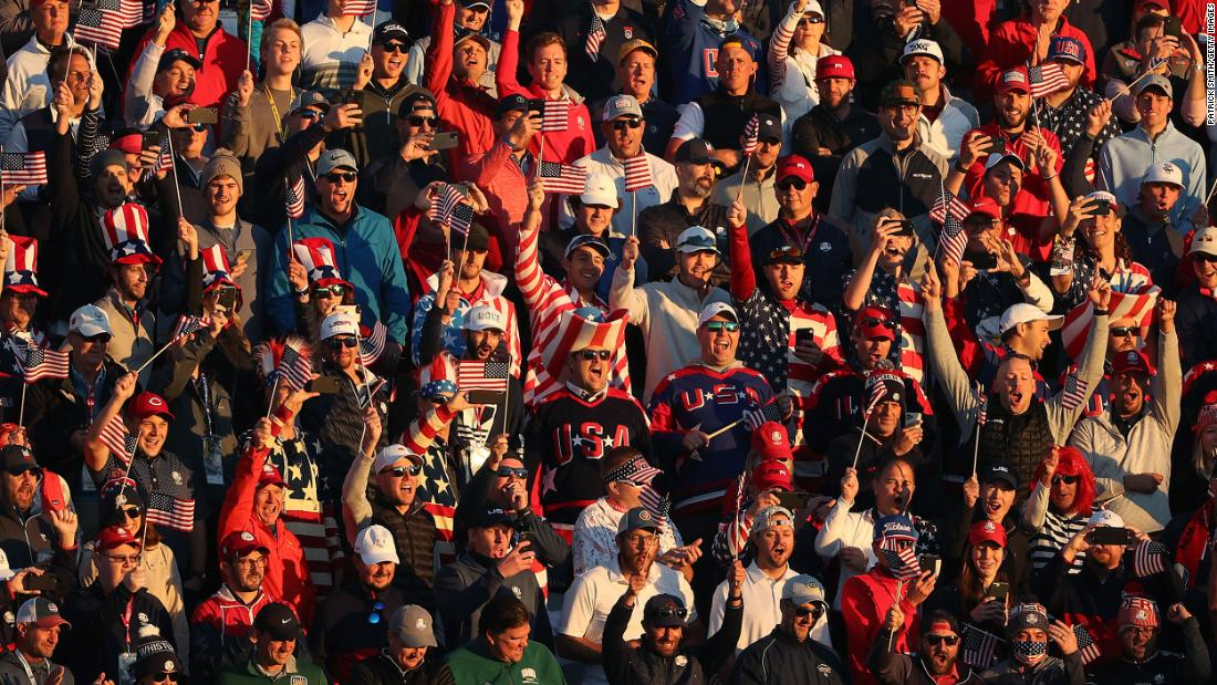 Fans cheer during Friday morning Foursome matches of the 43rd Ryder Cup.