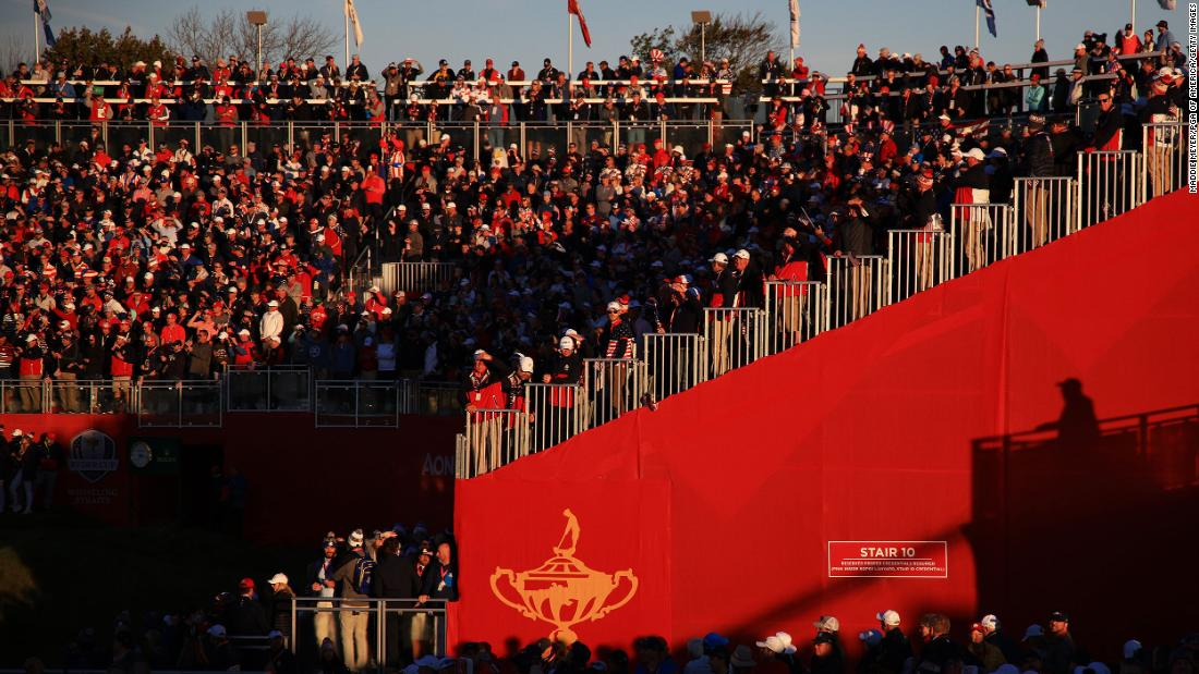 A general view of the grandstand at the first tee during Friday morning Foursome matches.