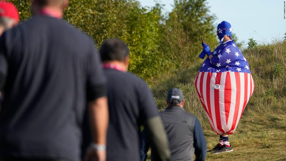 A fan watches during a foursome match the Ryder Cup at the Whistling Straits.