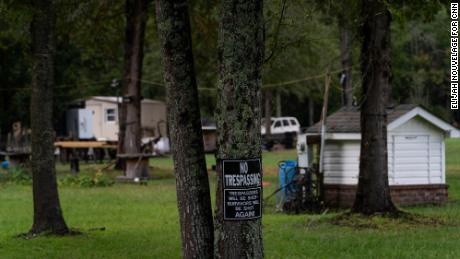 """A """"No Trespassing"""" sign is seen on Curtis Smith's property in Walterboro, South Carolina."""