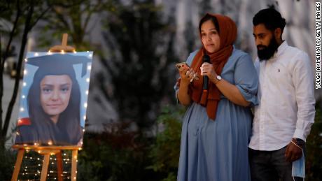 Jebina Nessa pays tribute to her sister Sabina Nessa during the vigil.