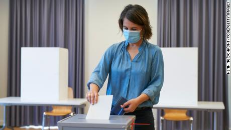 Annalena Baerbock, chancellor candidate of the German Greens Party, casts her ballot on September 26, 2021 in Potsdam, Germany.