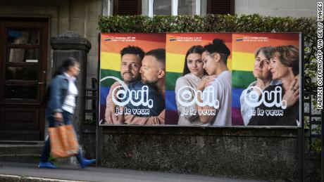 Switzerland voted by nearly two-thirds to legalize same-sex marriage