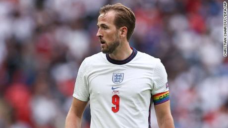 England's Harry Kane wears an rainbow armband during a Euro 2020 match