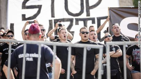 Counter-protesters chant during the annual Pride parade in Budapest, Hungary in June, 2021