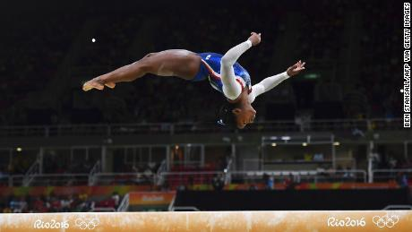 Biles competes in the beam event of the women's individual all-around final during the Rio 2016 Olympic Games.