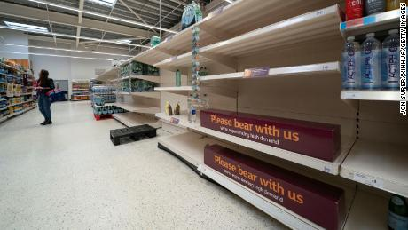 Empty shelves are seen at a supermarket in Manchester, Britain, on September 22.