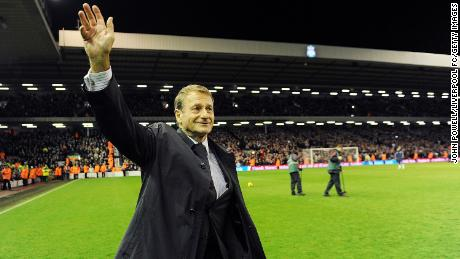 Liverpool legendary player Roger Hunt walks onto the pitch as bagpipes play at Anfield in commemoration of Bill Shankly's 50th anniversary of being involved at the club during the Premier League match between Liverpool and Wigan Athletic at Anfield on Dec. 16, 2009 in Liverpool, England.