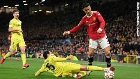 Ronaldo is challenged by Daniel Parejo of Villarreal.