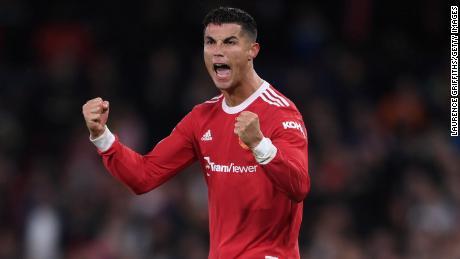 Ronaldo celebrates Manchester United's victory over Villarreal.