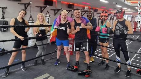 Stark and WGBC ambassador Shaun Jacobs celebrate Pride Month with other participants who are training to compete in a fight night to raise funds for the WGBC.