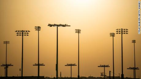 Sunset during a Moto3 race at Losail Circuit.