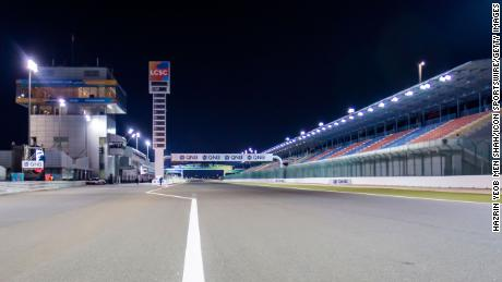 A general view of the pit building and main grandstand at the QNB Qatar Motorcycle Grand Prix at Losail International Circuit.