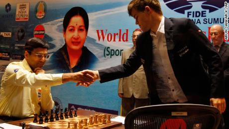 Magnus Carlsen (right) beat India's Viswanathan Anand (left) during the Chess World Championship match to become a world champion at age 22 in Chennai, India.