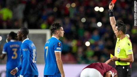 Kamara receives a red card against Sparta Prague.