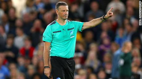 Clattenburg referees at a Soccer Aid match at Stamford Bridge in 2019.