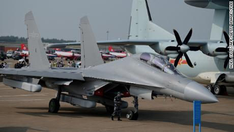 A Chinese J-16 multirole strike fighter for the People's Liberation Army Air Force (PLAAF) is shown at the 13th China International Aviation and Aerospace Exhibition in Zhuhai on September 28.